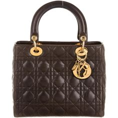 Pre-owned Christian Dior Medium Lady Dior Bag ($1,880) ❤ liked on Polyvore featuring bags, brown, zipper bag, christian dior, hardware bag, preowned bags and brown leather bag
