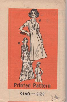 1970s Mail Order 9160  Misses Princess Seam Dress pattern formal vintage sewing pattern by mbchills