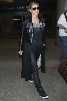 Heidi Klum wearing Dita Condor Sunglasses, Louis Vuitton Palk Monogram Macassar Canvas Backpack and 3x1 Coated Overalls in Black