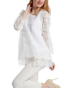 Look what I found on #zulily! White Sheer Crochet Ruffle-Hem Top - Plus #zulilyfinds