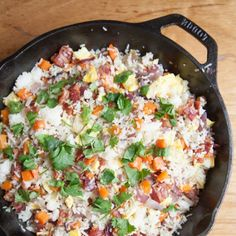 Bacon fried rice is a great way to use up left over rice. This fried rice is fully loaded with bacon goodness! No oils just bacon fat.