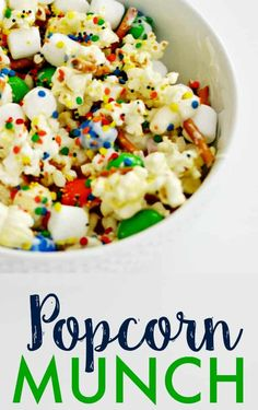Get ready for your family night with this yummy popcorn munch. Great idea for movie night and birthday parties. Game Night Snacks, Party Snacks, Party Party, Sleepover Snacks, Party Ideas, Healthy Movie Snacks, Healthy Meals, Snack Recipes, Dessert Recipes