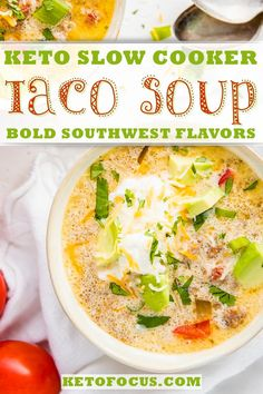 Loaded with your favorite southwest flavors, this keto taco soup is an easy freezer friendly, dump and go slow cooker or instant pot recipe that is sure to warm bellies and keep them coming back for more. Keto Crockpot Recipes, Diet Soup Recipes, Lunch Recipes, Slow Cooker Recipes, Dinner Recipes, Crockpot Ideas, Slow Cooker Tacos, Slow Cooker Soup, Slow Cooked Lamb
