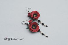 Polymer clay poppies earrings. Handmade.