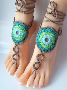 ideas for crochet jeans bag Fabric Bracelets, Ankle Bracelets, Crochet Shoes, Crochet Slippers, Beach Wedding Shoes, Crochet Barefoot Sandals, Ankle Chain, Victorian Lace, Beaded Anklets