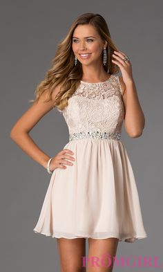 Image of Short Sleeveless Dress with Lace Bodice Style: MQ-836564 Front Image