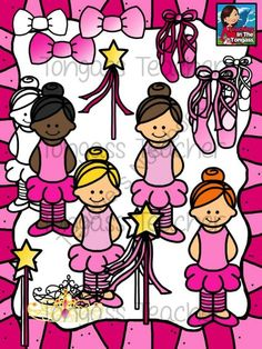 Ballet Clipart Bundle from tongassteacher on TeachersNotebook.com -  (20 pages)  - This ballerina themed 20 piece clipart bundle features ballet girls, star wands, ballet shoes, bows and a tiara!
