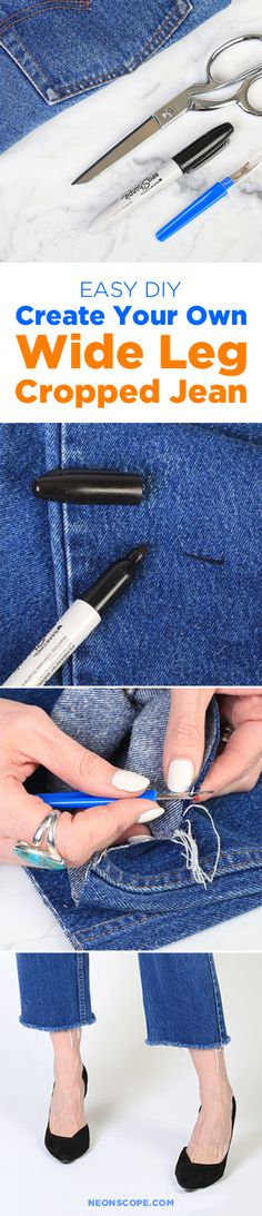 Easy DIY: Create Your Own Wide Leg Cropped Jean