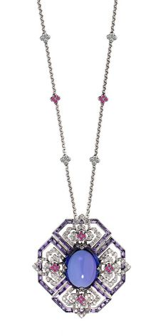 Ritz Fine Jewellery Quatrefoil necklace with cabochon tanzanite, pink sapphires and diamonds