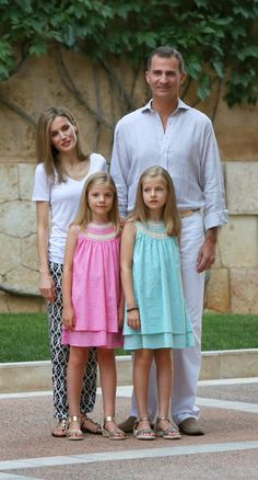 King Felipe ,Queen Letizia and their daughters  posed  for the media at the start of the summer holiday at palace Marivent on Palma de Mallorca.