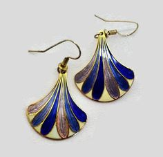 Hey, I found this really awesome Etsy listing at https://www.etsy.com/listing/231866533/cloisonne-fan-dangle-earrings-blue-lilac