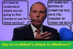 Hmm, Peter Dutton or Dickie Knee? Which one's the more intelligent? Yep, Dickie Knee! No contest!  #auspol #australia #tonyabbott #peterdutton #medicare #dickeeknee
