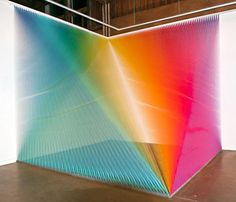 The thread installations by Gabriel Dawe are like optical illusions. I especially love the rainbow ones because they appear similar to the way we view rainbows – a bit transparent and fuzzy, hovering in the place between reality and illusion.