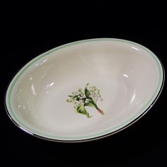 Homer Laughlin Lily of the Valley Eggshell Nautilus Oval Serving Bowl from ruthsredemptions on Ruby Lane