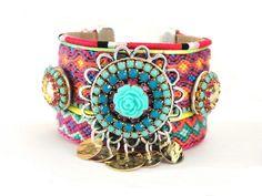 Neon friendship bracelet cuff - neon bracelet - bohemian hippie jewelry - studded bracelet - boho chic ibiza style - OOAKjewelz original. €125.00, via Etsy.