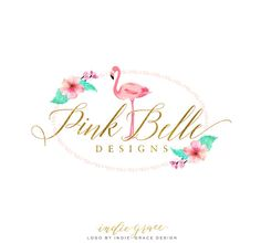 Custom Premade Logo Watercolor Calligraphy Tropical by IndieGrace
