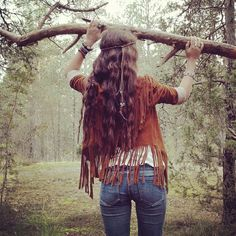 Our cowgirl dreaming jacket swaying in the woods, tassels akimbo… By Swedish blogger @lilnilsson (Taken with Instagram)