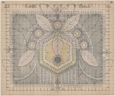 """Louise Despont ~ """"Hive Mind No.10, Hatch"""" (2014) Graphite, colored pencil, ink, and gold leaf on antique ledger book page; 13.75 x 16.75 in. Courtesy the artist and Nicelle Beauchene Gallery. ©Louise Despont. via Art 21 New York Close Up"""