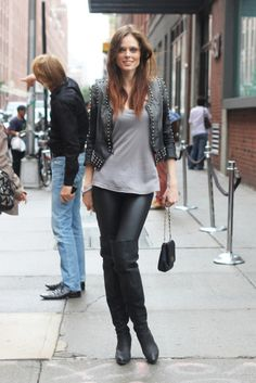 How to wear a leather jacket. Coco Rocha style