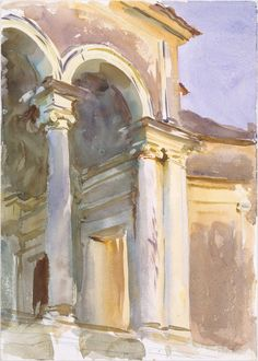 Sargent painted several architectural studies at the Villa Giulia, located on the grounds of the Borghese Gardens in northern Rome. The villa, which today houses a museum of antiquities, was built in the 1550s for Pope Julius III