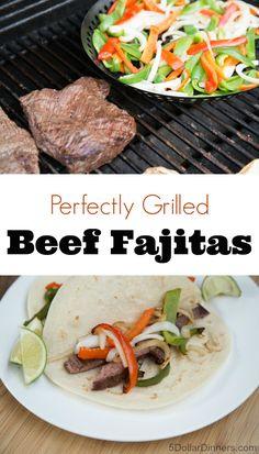 Grilled Beef Fajitas ~ NEW 31 Days of Grilling Recipes | 5DollarDinners.com