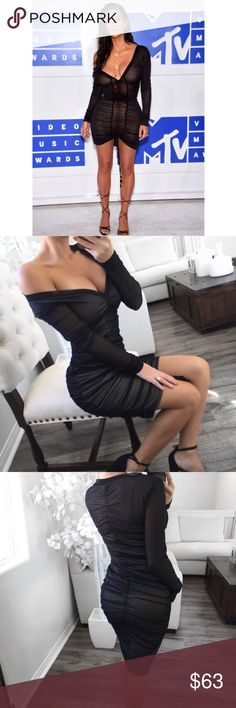 NWT KIMK Black Mesh Scrunch Dress **REPOSH** NWT KIMK Black Mesh Scrunch dress. Brand EKAttire. Photo credit to itselaine. Bought this hoping it would fit but it's a little big🚫NO TRADES🚫 ekattire Dresses Mini