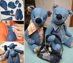 Repurpose your old denim jeans into this adorable Teddy Bear! It's a super cute FREE Pattern and will make a beautiful gift for any little one. Tutorials via 'Inventive Denim and 'How Joyful' Denim Teddy Bear Tutorial Sewing Toys, Sewing Crafts, Sewing Projects, Diy Projects, Jean Crafts, Denim Crafts, Recycled Denim, Stuffed Toys Patterns, Sewing For Kids