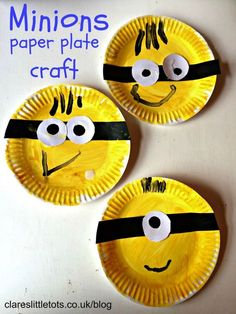 Fun and easy paper plate minions craft that toddlers and preschoolers can do themselves.: