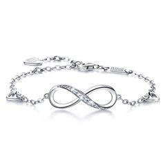 2aabe47fafc0 Billie Bijoux Infinity Unendlichkeit Symbol Damen Armband 925 Sterling  Silber Zirkonia Armkette Verstellbar Charm Armband Unendlichkeit