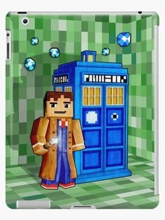 Cute 8bit time traveller with the phone box iPad Cases & Skins  #Case #CellPhone #iPhonecase #hardcase #accessories #tardis #policepubliccallbox #doctorwho #phonebooth #phonebox #timemachine #timetraveller #cubic #games #sandbox #creeper #mojang #8bit