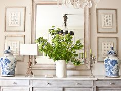live breathe decor whites, blue and white ginger jars A perfect vignette. Love the way the pictures are framed Sideboard Decor, Decor, Blue And White Vase, Home Remodeling, White Vases, Restoration Hardware Sofa, Blue Decor, House Interior, Chinoiserie Furniture