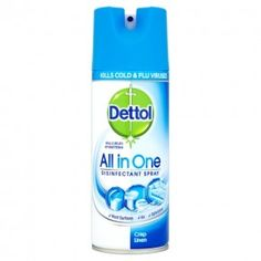 Dettol All in One Disinfectant Spray - Crisp Linen. Kills of bacteria as well as cold and flu viruses. Suitable for all kinds of household uses. Faucet Handles, Door Handles, Granada, Cleaning Cupboard, Disinfectant Spray, Shower Base, Acrylic Plastic, House Smells, Diy