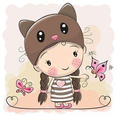 Cute Cartoon Girl - ilustração de arte em vetor