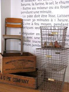 "school chair, crate, metal basket...the three items I am seeking to ""stumbled upon"" in a dusty antique shop"