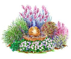 Little Fountain Garden Plan via BHG Uses: impatiens walleriana (annual) European wild ginger (Zones Big blue lilyturf (Zones Kangaroo pawZones (zones Coleus (annual) Hummingbird mint (zones Small Flower Gardens, Little Gardens, Small Flowers, Garden Fountains, Fountain Garden, Table Color, Neck Tatto, Coleus, Flower Garden Plans