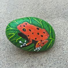 Frog on Leaf, Frog Painted Rock, Frog Painting, Orange Frog, 3D Painting, Stone Art, Garden Art, Patio Art, For Him, MelidasArt