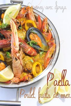 Paella mixte au poulet et fruits de mer Seafood Recipes, Cooking Recipes, Couscous, Pot Roast, Parfait, Risotto, Barbecue, Good Food, Recipes