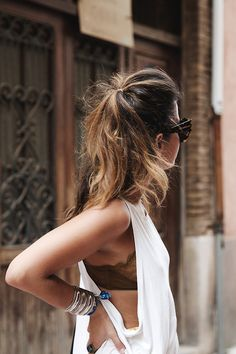 Muscle tee + lace bralette.