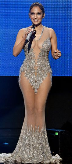 Jennifer Lopez AMAs outfits - sheer silver dress