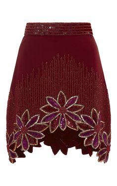Burgundy Hand Beaded Floral A-Line Skirt by Rodarte for Preorder on Moda Operandi
