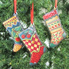 Glass  Cherry Stockings Ornament Set/3