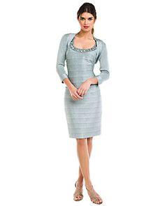 Carmen Marc Valvo Verdigris Knit Jacket and embellished dress $300 on sale