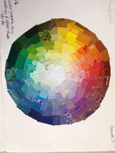 "Year 7 ""surprise me"" colour wheel collage homework"