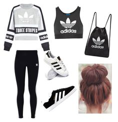 """ADIDAS"" by haileymagana on Polyvore featuring adidas Originals and adidas"