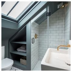 Attic Shower, Small Attic Bathroom, Loft Bathroom, Upstairs Bathrooms, Modern Bathroom, Master Bathrooms, Remodel Bathroom, Bathroom Renovations, Small Bathroom Layout
