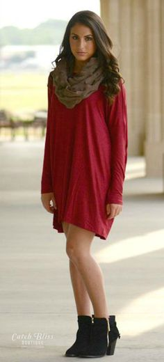 Essential effortless burgundy fall dress. Wardrobe staple that offers comfort and style. Makes a great casual look. Free shipping on orders $50 and over!