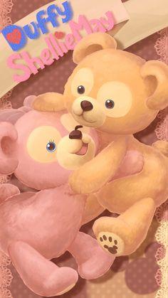 Duffy and Sherrymay Disney Phone Wallpaper, Friends Wallpaper, Bear Wallpaper, Kawaii Wallpaper, Pixar, Duffy The Disney Bear, Disney Fine Art, Disney Illustration, Disney Paintings