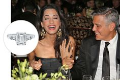 8 Celebrity Engagement Rings You Need to See Amal Clooney, George Clooney, Royal Tiaras, Tiaras And Crowns, Celebrity Wedding Rings, Cut Photo, Emerald Cut Rings, Types Of Rings, The Smoke