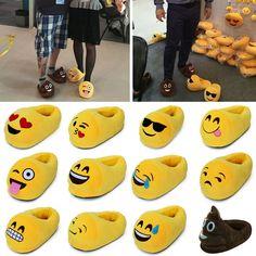 Emoji Relleno Unisex Cute Pantuflas Invierno Home Cálido De Salón Plush