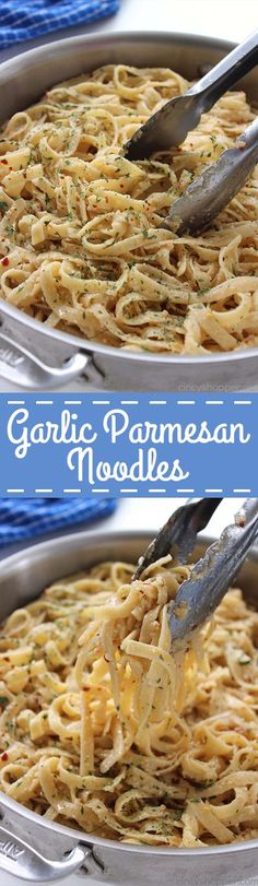 Easy vegetarian butter Garlic Parmesan Noodles - perfect side dish with just about any meal. Butter, garlic, noodles, Parmesan, and a few minutes of time needed are all that are needed. I Love Food, Good Food, Yummy Food, Tasty, Pasta Dishes, Food Dishes, Parmesan Noodles, Rice Noodles, Garlic Parmesan Pasta